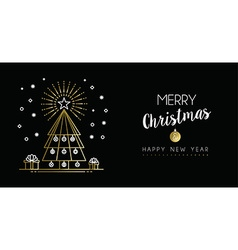 Gold christmas new year outline pine tree banner vector
