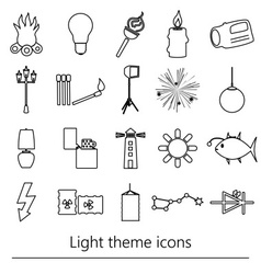 Light theme modern simple black outline icons vector