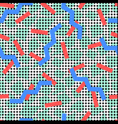 Memphis pattern with blue zigzags background dots vector