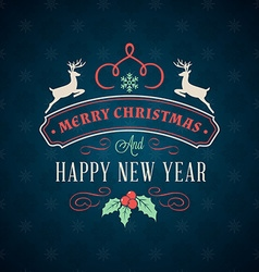 Merry christmas greeting card vintage typographic vector