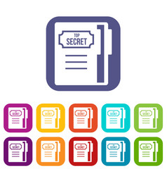 notepad icons set vector image