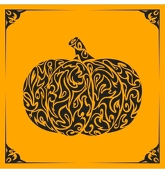 Ornamental decorative pumpkin silhouette vector image