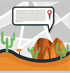 Road through the desert with detail information vector
