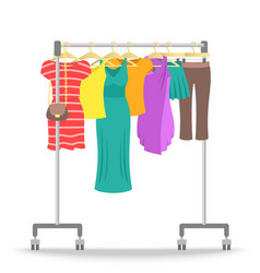 Rolling hanger rack with women clothes collection vector
