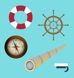 Sea icon set spyglass compass sailors cap vector