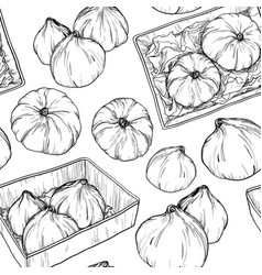 seamless pattern with hand drawn pumpkin sketch vector image vector image