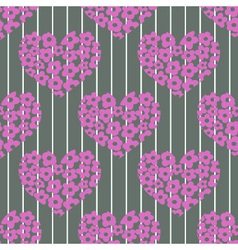 seamless pattern with pink hearts on a stri vector image vector image