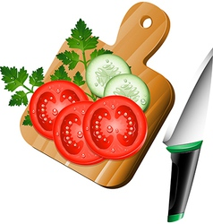 Serving board with ingredients on vector image vector image