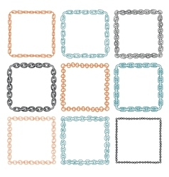 Set of 9 decorative square border frames vector