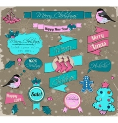Set of christmas elements in pink and blue vector