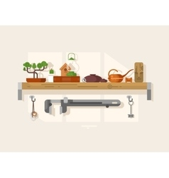 Shelf interior with object vector image