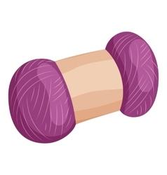 Skein of purple wool icon cartoon style vector