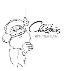 smiling santa claus holding merry christmas text vector image vector image