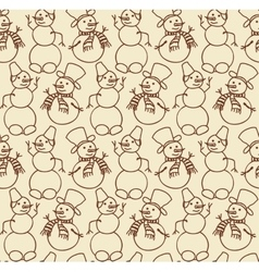 snowman seamless doodles vector image