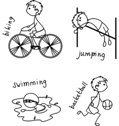 Stick figure playing sport icon set vector