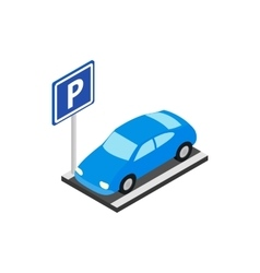Street parking icon isometric 3d style vector image vector image