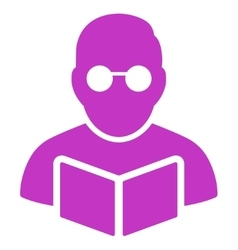 Student reading book icon vector