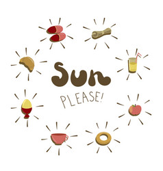 sun please - hand drawn phrase with vector image vector image