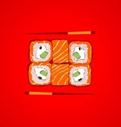 Sushi with chopsticks vector