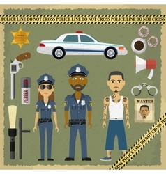 Two police officers man and woman criminal in vector image