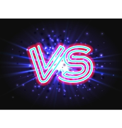 Versus neon logo on background with abstract light vector