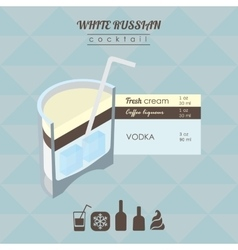 White russian cocktail flat style isometric vector image