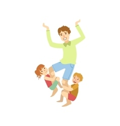 Father Trying To Shake Off The Kids Hanging On His vector image