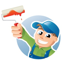 Happy painter with a paint roller vector image