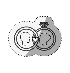 Sticker silhouette profile face engagement and vector