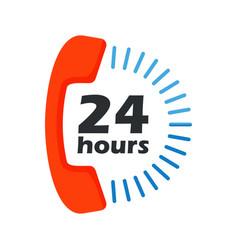 24 hours open phone vector image