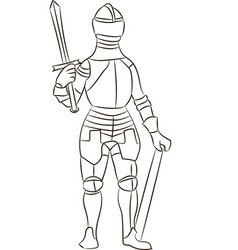 Medieval knight in iron armor vector