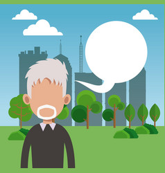 Elderly man bubble speech park city background vector