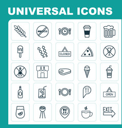 Eating icons set collection of alcohol forbid vector