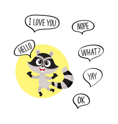 Cute raccoon character showing greeting gesture vector