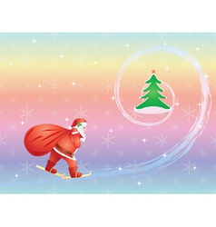 Santa skiing to christmas tree vector
