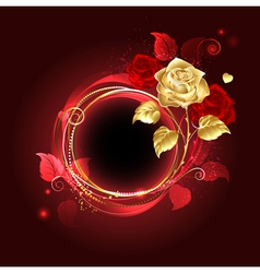 Round banner with gold rose vector