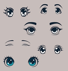 Manga eyes set vector