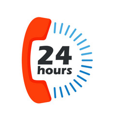 24 hours open phone vector image vector image