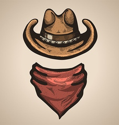 Cowboy hat and bandana scraf vector image