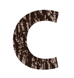 Letter c made from oak bark vector