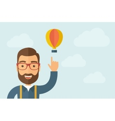 Man pointing the hot air balloon icon vector