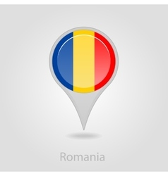 Romanian flag pin map icon vector