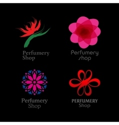 Red green and purple perfumery brand logos set on vector