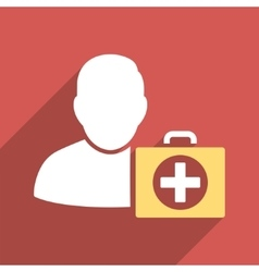 First aid man flat square icon with long shadow vector