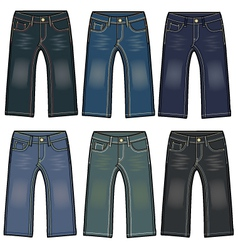 Boys denim washing jeans vector