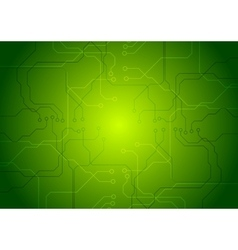 Bright green tech circuit board background vector