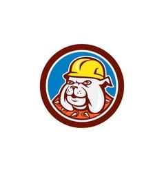 Bulldog construction worker head cartoon vector