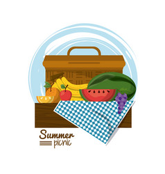 colorful logo summer picnic with picnic basket on vector image