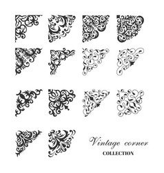 corner vintage damask style collection vector image vector image