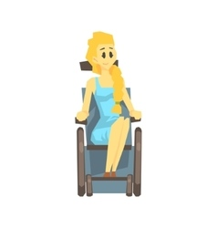 Cute girl in wheelchair young person with vector